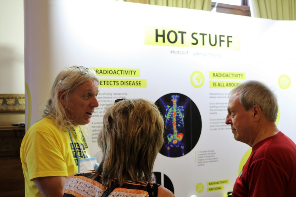 Professor Philip Blower speaking to members of the public about radiation at the Summer Science Exhibition