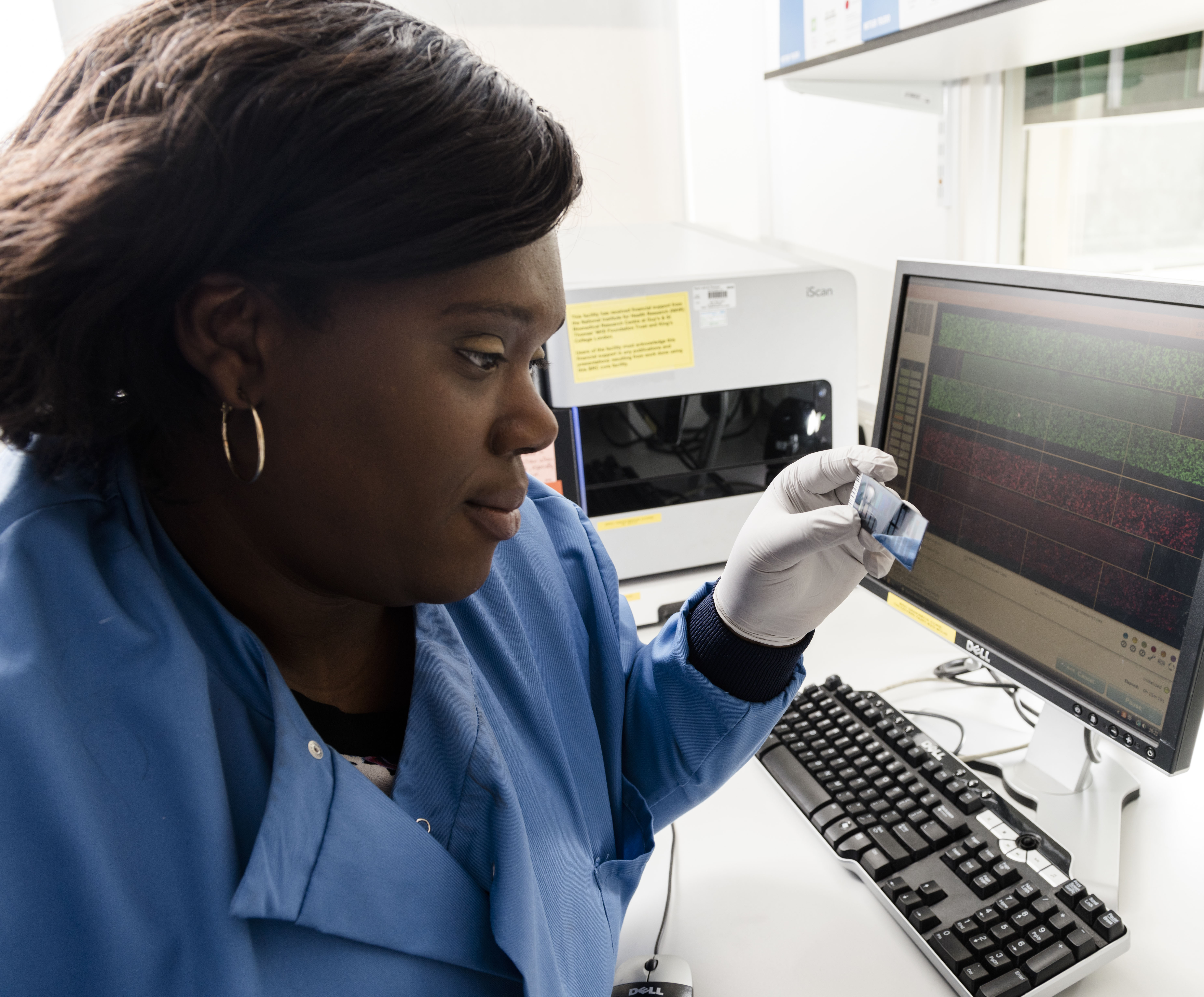 Researcher looking at genomic data 250 x 207
