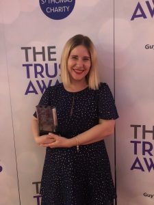 Our Public Engagement Project Manager Claire O'Neill at the 2018 Guy's and St Thomas' Trust Awards