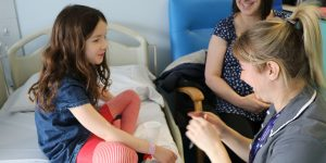 Research nurse Lydia and allergy patient Rose