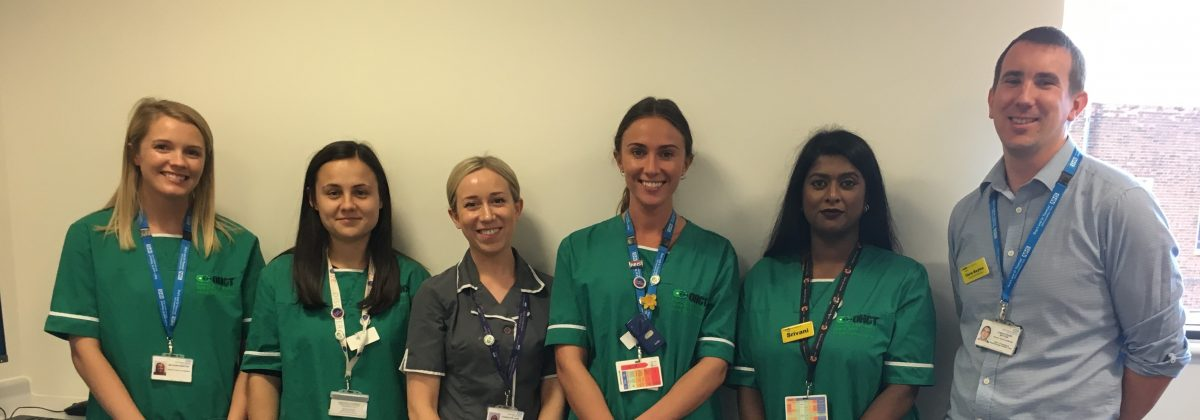 The Breast Cancer Clinical trials team. L-R, Mai, Ellie, Charlotte, Mary, Srivani and Chris.