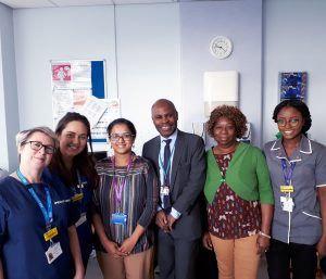 Joint Sickle Cell clinic team, L-R Jackie Rice and Nathalie Roche(Tower team midwives), Nita Prasannan (Consultant Haematologist), Professor Eugene Oteng-Ntim (CI for TAPS2 & Consultant Obstetrician), Beverley Telesford (community sickle cell Nurse) and Feyishade Adedugbe (specialist sickle cell Nurse).