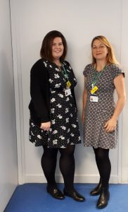Hilary Thompson (TAPS2 research Nurse) and Vicky Robinson, (TAPS2 research Midwife).