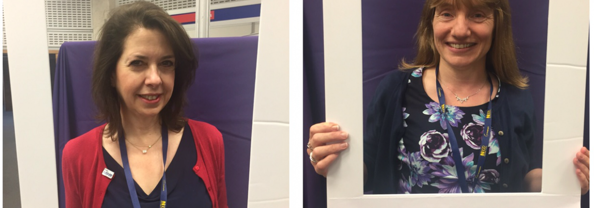 Nurses in picture frames for RCN event