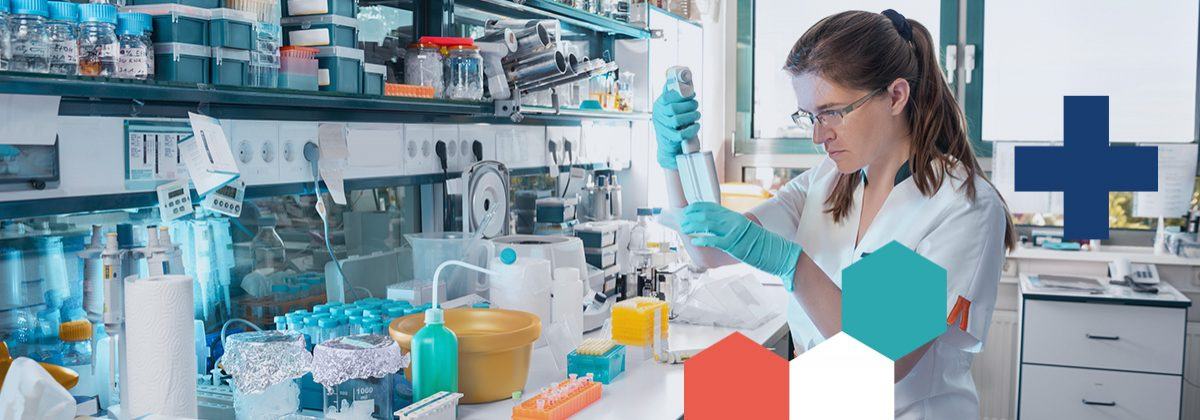 Scientist pipetting in a lab