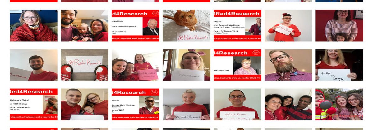 Multiple images of NHS staff holding Red4Research signs