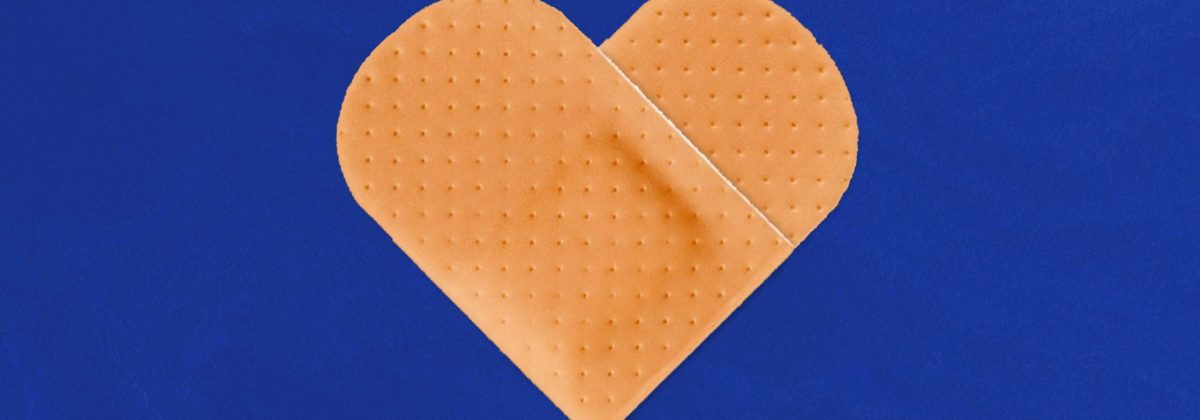Heart shaped from band aids