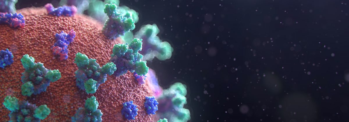 A graphic showing a close-up of the coronavirus