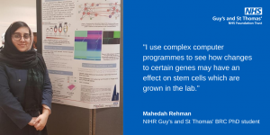 """""""I use complex computer programmes to see how changes to certain genes may have an effect on stem cells which are grown in the lab."""" ahedah Rehman NIHR Guy's and St Thomas' BRC PhD student"""